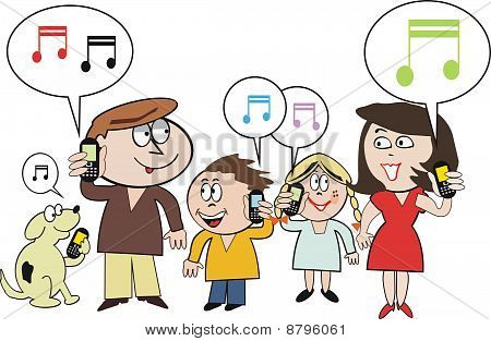 Family mobile phone cartoon