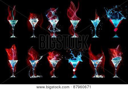 Large cocktail collection isolated on the black