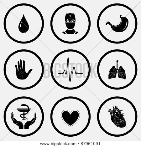 Medical set. Black and white set raster icons.