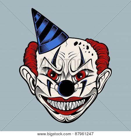 Illustartion of cartoon scary clown.