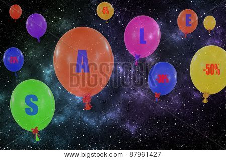 Flying Group Of Balloons In The Night Sky. Concept Of Sale Message For Shop