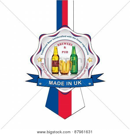 English Beer advertising sticker / label for print