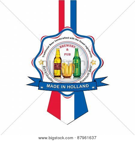 Dutch Beer advertising sticker / label for print