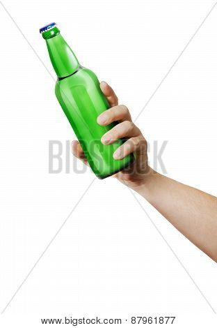 Hand holding a bottle.