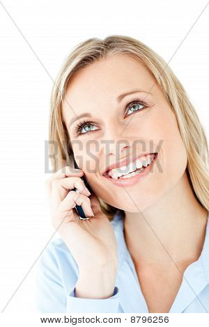 Radiant Young Businesswoman Talking On Phone