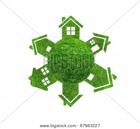 Grass Sphere With Houses Isolated