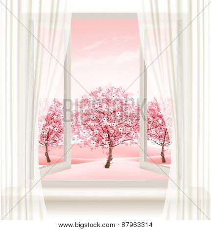 Spring background with an open window and blossoming pink sakura. Vector.