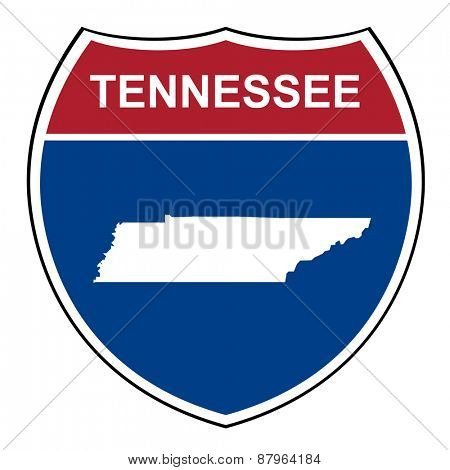 Tennessee American interstate highway road shield isolated on a white background.