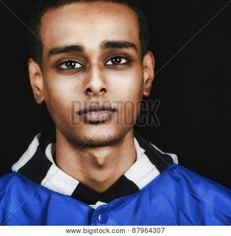 Nice Image of a young Ethiopian man in Stidio on Black