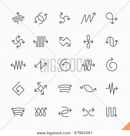 Thin line arrows icons set vector illustration