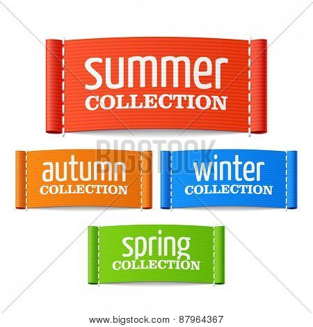 Summer, autumn, winter and spring collection labels. Vector.