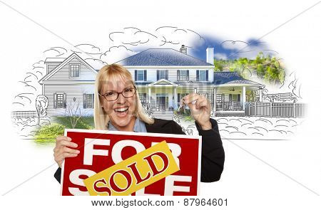 Excited Woman Holding House Keys, Sold Real Estate Sign Over House Photo and Drawing on White.