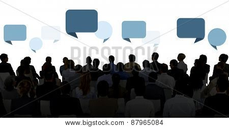 Silhouette Group Of Business People in Seminar Concept