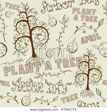 Arbor Day Hand Drawn Seamless Floral Pattern