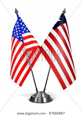 USA and Liberia - Miniature Flags.