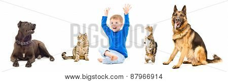 Group of a pets and cheerful child together