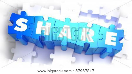 Share - White Word on Blue Puzzles.
