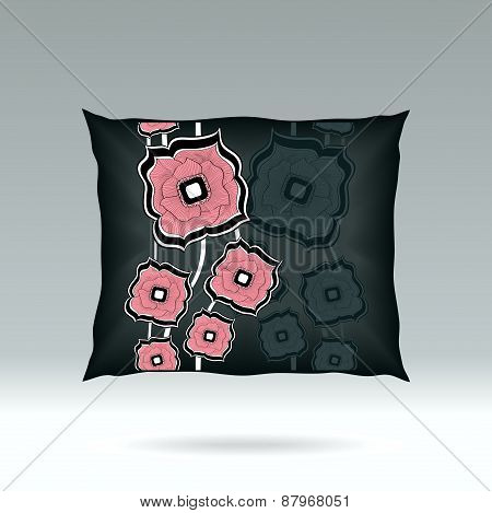 Black Pillow with abstract square flowers