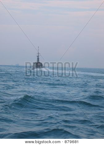 Military - Warship Speeding Away