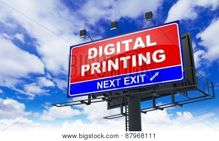 Digital Printing on Red Billboard.
