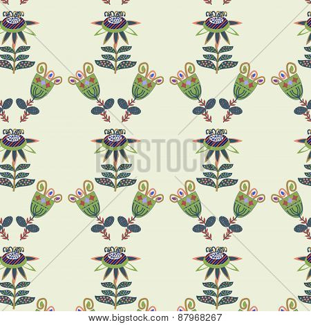 Colorful Floral Seamless Vintage Pattern And Seamless Pattern In Swatch Menu, Vector Illustration
