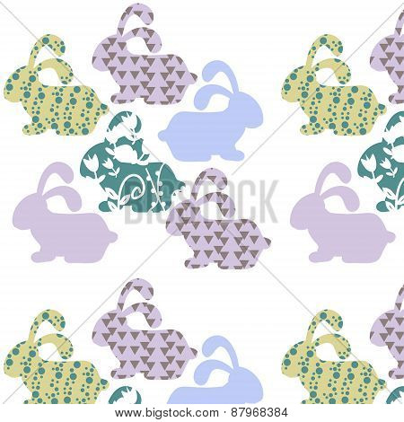 Gentle Simple Animals  Seamless Vintage Pattern And Seamless Pattern In Swatch Menu, Vector Illustra