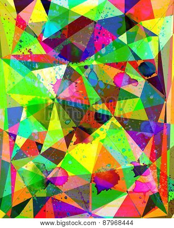 Watercolour Geometric Colorful Handiwork   Background. Cute Texture For Design Apparel, Phone Cases,