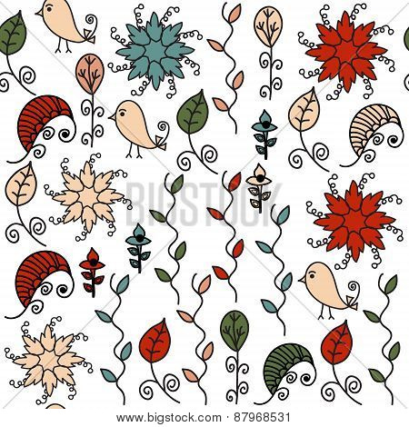 Birds Colorful Seamless Pattern And Seamless Pattern In Swatch Menu, Vector. Cute Background. Bright