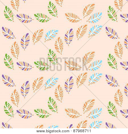 Leaves Seamless Vintage Pattern And Seamless Pattern In Swatch Menu, Vector Illustration. Tileable P