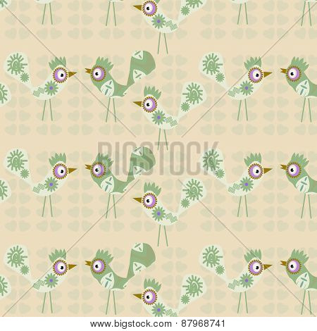 Birds Seamless Vintage Gentle Cute Pattern And Seamless Pattern In Swatch Menu, Vector Illustration.