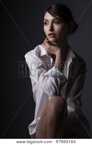 Young Gorgeous Model With A White Shirt
