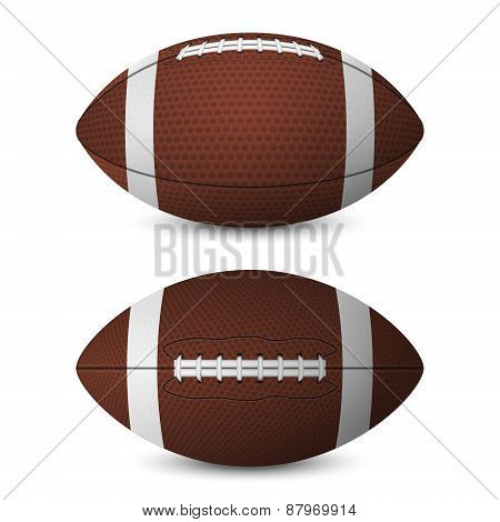 American Football Balls Set - Front View, Side View.