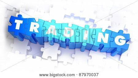 Trading - White Word on Blue Puzzles.