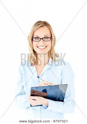 Confident Businesswoman Holding A Clipboard