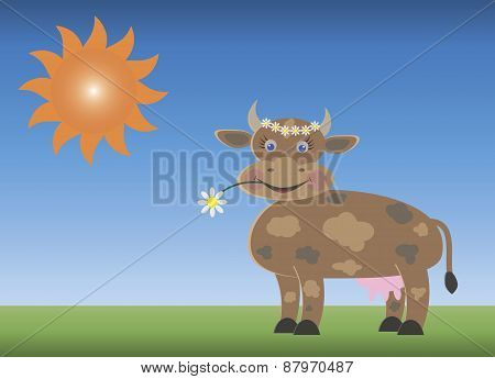 Cow with a flower