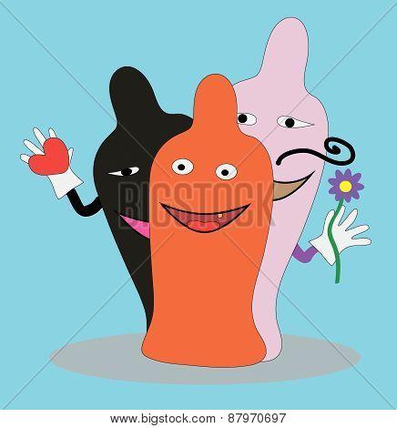 Three funny condoms