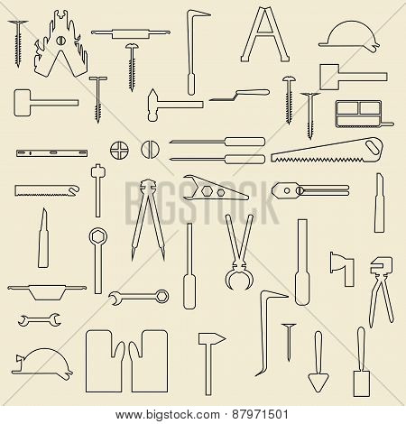 Construction tools linear icons  illustration.