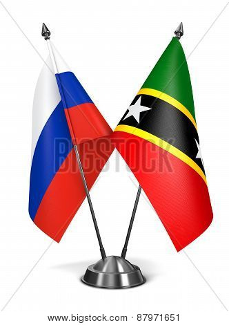 Russia, Saint Kitts and Nevis - Miniature Flags.