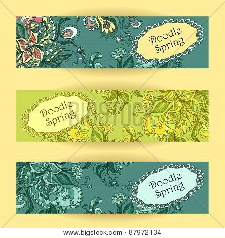 Set Doodle floral banners in blue marine green