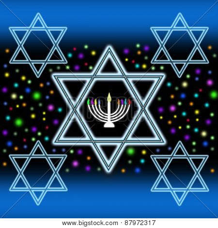 Stars of David and Menorah