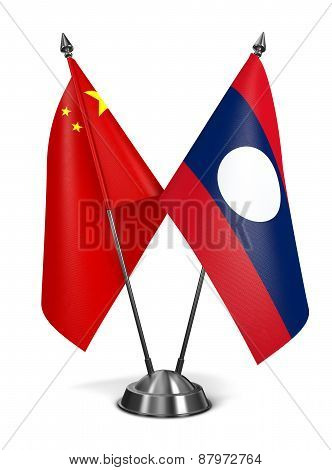 China and Laos - Miniature Flags.