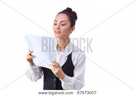 Successful  caucasian businesswoman reading documents