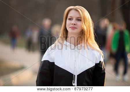 Portrait Of Smiling Girl In Sportswear