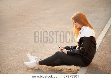 Sporty Girl With Smartphone, Copy Space