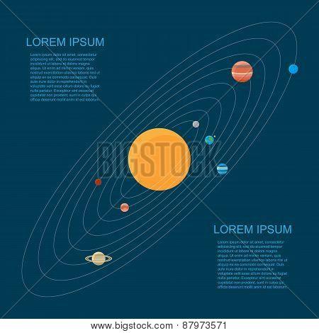 Flat style solar system illustration