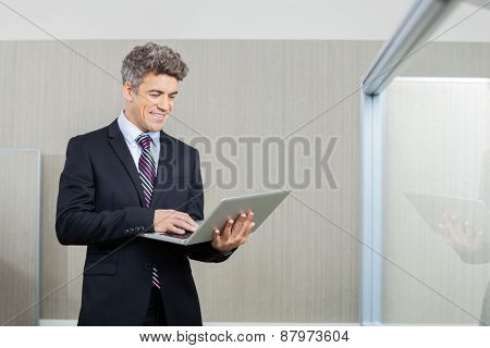 Happy business executive working on laptop at call center