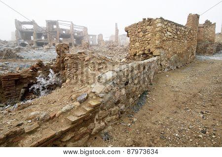 Belchite village destroyed in a bombing during the Spanish Civil War, Saragossa, Aragon, Spain.