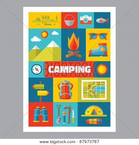 Camping - mosaic poster with icons in flat design style.