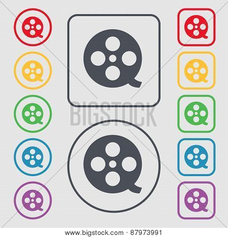 Film Icon Sign. Symbol On The Round And Square Buttons With Frame. Vector