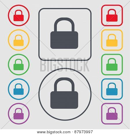 Pad Lock Icon Sign. Symbol On The Round And Square Buttons With Frame. Vector